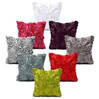 Сатин 3d розы квадратный наволочки домой диван свадебный декор Чехлы