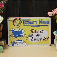 Листового металла меню Рисование старинные металлические картина олова caft паб таверна стены плакат знак