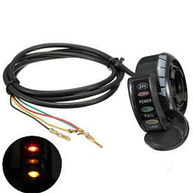 24V 4 провода багги идти картов электрический скутер пальцем дроссельной с LED света e200 e300