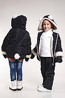 Детская зимняя куртка +варежки,черного цвета, рост 92-122