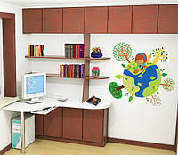 Движущихся мультфильма дети земли наклейки детская комната искусства DIY смазливая украшения фон обои отличительные знаки