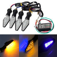 4шт мотоцикл амбры и голубой 12LEDы фонарь указателя поворота Лампа света с реле указателей поворота