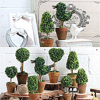 Искусственный растение в горшке пластиковая садовая трава мяч подстриженными дерево горшок домой стол декор