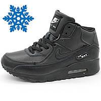 4962f3d6 Зимние женские и мужские кроссовки Nike Air Max 90 Аир макс черные -  Реплика р.
