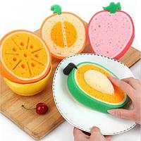 4шт милые фрукты сильный обеззараживания губка микроволокно мытье посуды инструмент кухни