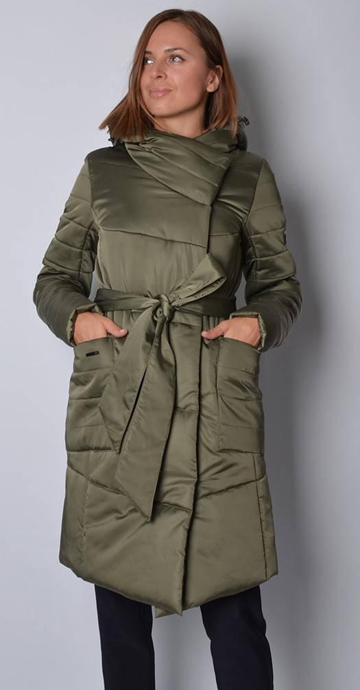 Удлиненная куртка в цвете хаки