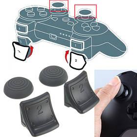 Двойные триггеры+силиконовый захват большого пальца крышка 4в1 комплект для PS3 контроллер