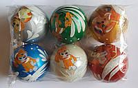 """Елочная игрушка """"Шар цветной Символ года Собачка"""" (диаметр 6 см, упаковка 6 шт), фото 1"""