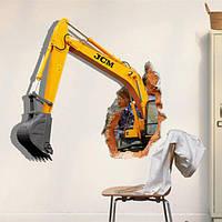 3d экскаватор Наклейки на стены съемный выемки грунта декор наклейки машина стен дома стены
