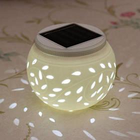 Керамическая изменение цвета LED солнечный светильник солнце питание Садовый стол круглый свет