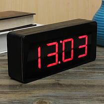 Акриловое зеркало деревянный цифровой LED время будильник календарь термометр, фото 3