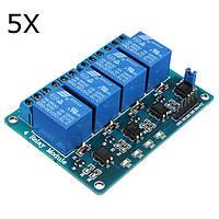 5шт Geekcreit® 5V 4 релейный модуль канала для Arduino PIC ARM DSP AVR MSP430 синий