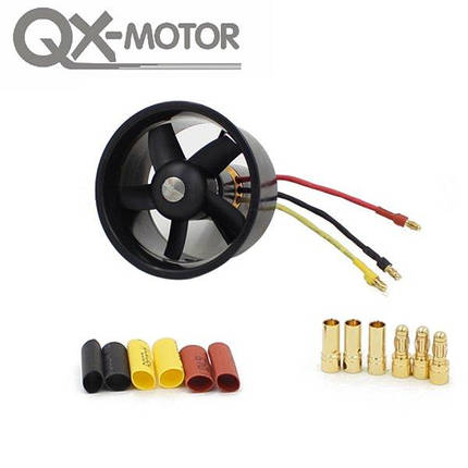 QX-мотор 64mm 5 лезвий канальные вентилятор с 4300kv 3-4s qf2822 бесщеточный двигатель, фото 2