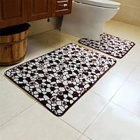 2шт каменная картина туалет пол ковер не скольжения наборы ванной Closestool коврик ковер