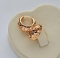 Резные серьги-кольца Xuping позолота 18к.