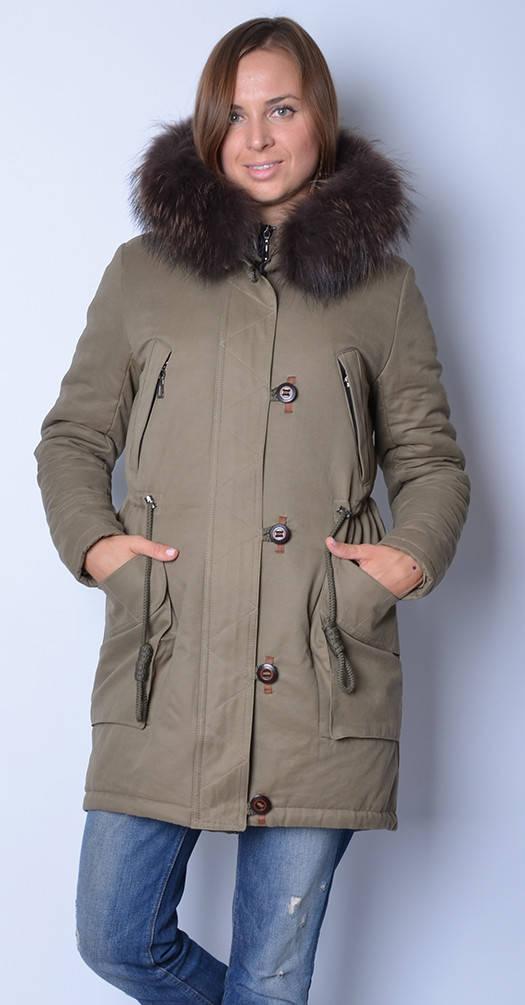 Куртка-хлопок хаки с рыжим мехом