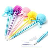 5шт очаровательные пушистые ручки милой лентой принцесса прекрасная шариковая ручка шарика