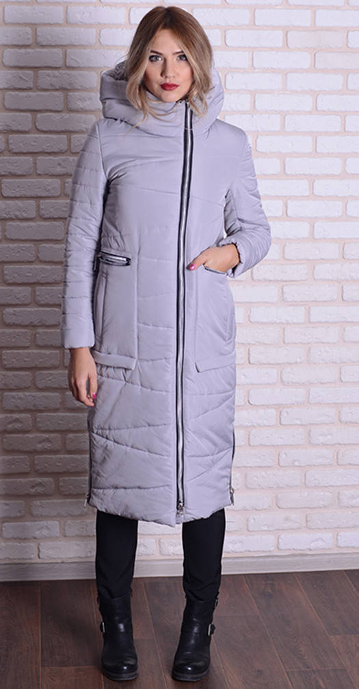Женская длинная куртка светло-серая