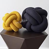 Декоративная подушка узел, горчичный 25 см