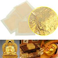 5шт 24k подлинные чистые фольги листьев золота позолота листов комплект Crafts декор маска пасты 4x4cm
