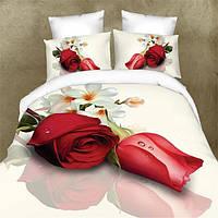 Полиэфирного волокна 3d цветок розы реактивной крашения постельное белье 4шт костюм Королева Король размер