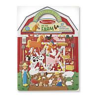 """Объемные многоразовые наклейки """"Ферма"""" / On the Farm (4 фоновых картинки + 52 наклейки) ТМ Melissa & Doug MD19408"""