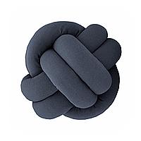 Декоративная подушка узел, графит 20 см