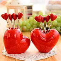 Красное сердце с фруктами Закуска из нержавеющей стали вилка Набор Кухня гаджета Творческая кухня Инструменты