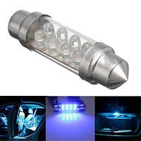 12v 39 41 42 мм универсальный интерьер автомобиля синий 8 LED Плафон лампы гирлянда