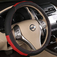 Черный Коричневый 38см Универсальный Плоский Breathable Авто Стальная Кольцо Обложки Кожа