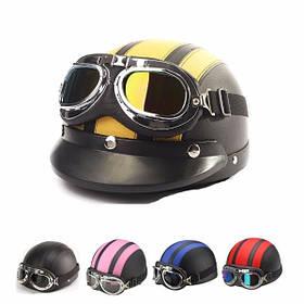 Полукруглый кожаный шлем мотоциклиста с солнцезащитными очками