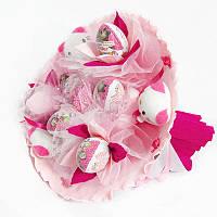 Букет из игрушек Котики 5 с Киндер Сюрприз розовый