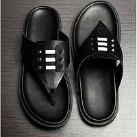 Черный-Мужской-На каждый день-КожаУдобная обувь-Тапочки и Шлепанцы 05444600