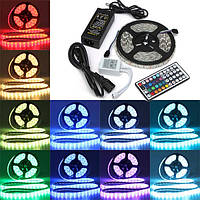 5м SMD 5050 RGB водонепроницаемый 300 LED полосы света 44 кнопки контроллера 12v