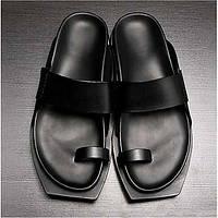 -Для мужчин-Повседневный-Кожа-На плоской подошве-Удобная обувь-Тапочки и Шлепанцы 05278368