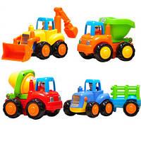 4шт набор детей ребенка трактора pushdozer бетономешалка игрушка автомобиль грузовик инструмент