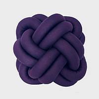 Декоративная подушка узел, фиолетовая 32 см
