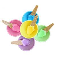 Пластиковые детские мороженое Вафельные конусные чаши Ложки для чашек Набор креативных адвокатов Набор Аксессуары для морозильников