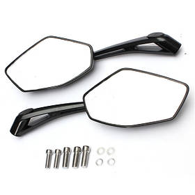 Универсальные металлические мотоцикла зеркала заднего вида боковые черные 8мм 10мм резьбы
