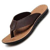 Черный Коричневый-Мужской-Для прогулок Повседневный-Наппа Leather-На плоской подошве-Удобная обувь-Тапочки и Шлепанцы 05109837