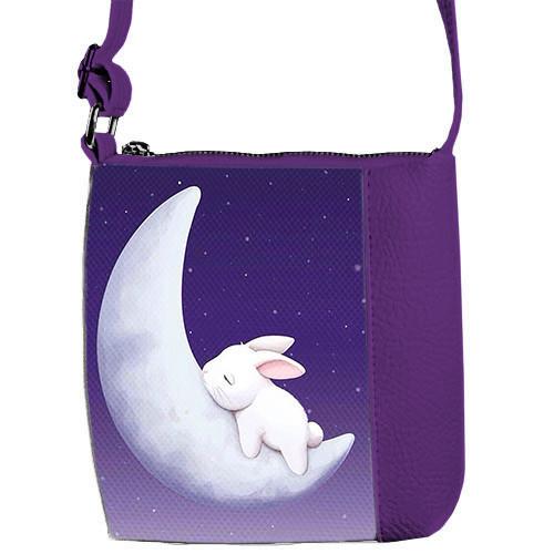 Фиолетовая сумочка для девочки Принцесса с принтом Заяц