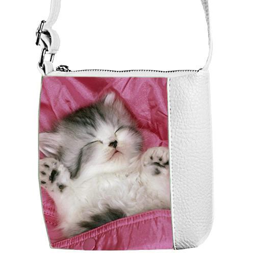Белая сумочка для девочки с принтом Кошка