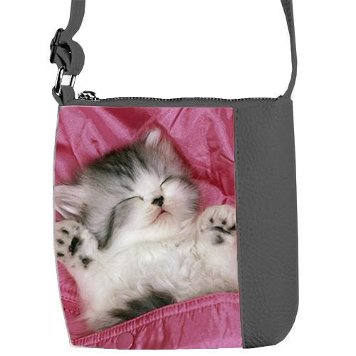 Серая сумочка для девочки с принтом Котенок спит