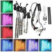6шт в RGB LED гибкий неон полосы света для мотоцикла авто АТВ &пульт дистанционного управления