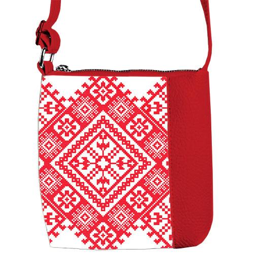 Красная сумочка для девочки с принтом Вышивка