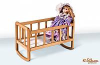 Деревянная кроватка для куклы Гойдалка
