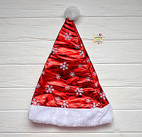 Новогодний колпак, красного цвета с белым искуственным мехом, высота 40 см, размер 59