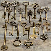 18pcs год сбора винограда антиквариата старый ключ взгляд скелет много кулон сердце лук блокировки Steampunk