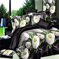 4шт костюм полиэфирного волокна 3d белый цветок тюльпана реактивной крашение наборы постельных принадлежностей королева кровать