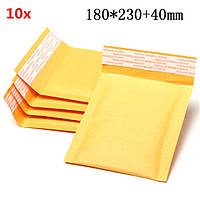 10шт 180 * 230 мм 40 мм + пузырь конверт желтого цвета крафт-бумаги мешок конверт почтовые